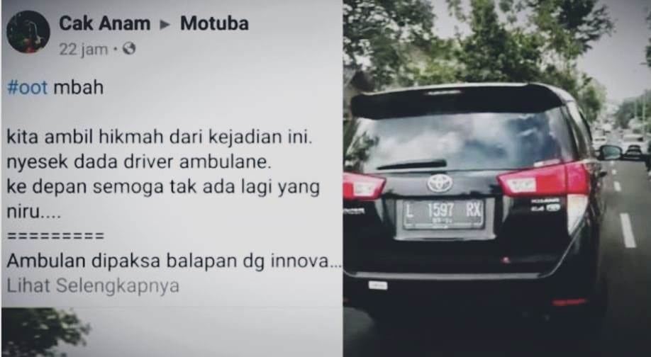 Viral, Vidio Kijang Innova Halangi Ambulance Di Pacet Tuai Kecaman Netizen