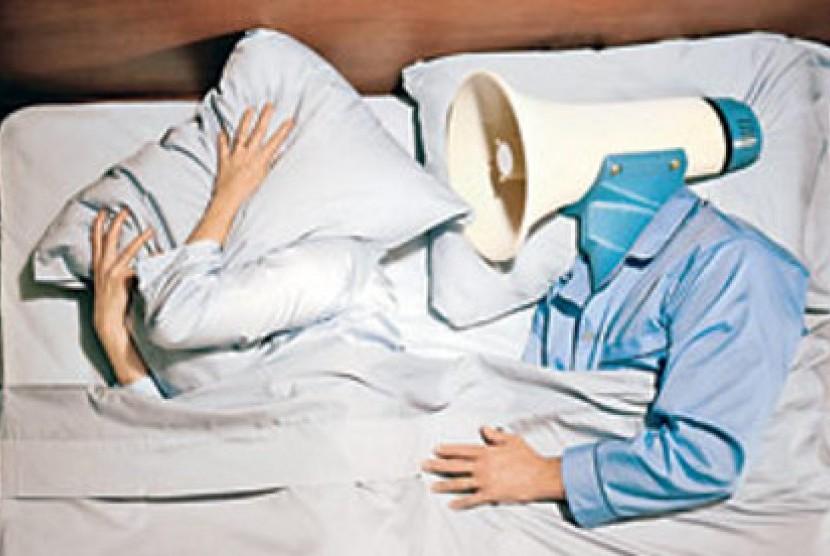 Foto : Ilustrasi tidur mendengkur yang menggangu.